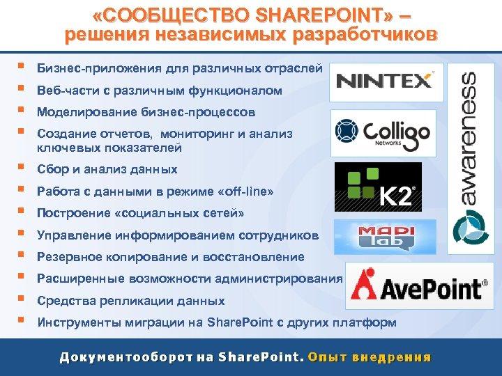 «СООБЩЕСТВО SHAREPOINT» – решения независимых разработчиков § § Бизнес-приложения для различных отраслей §
