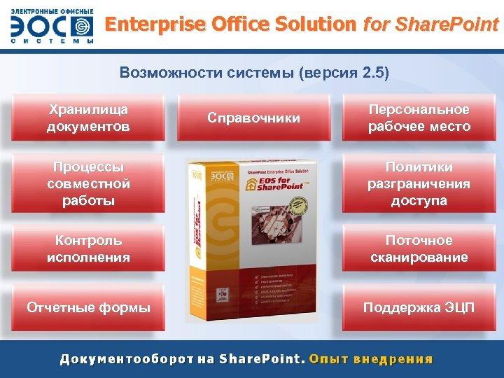 Enterprise Office Solution for Share. Point Возможности системы (версия 2. 5) Хранилища документов Справочники