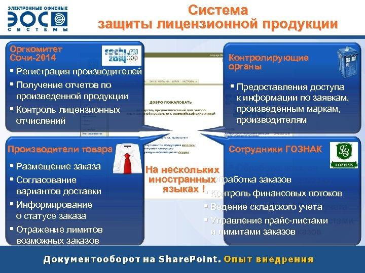 Система защиты лицензионной продукции Оргкомитет Сочи-2014 § Регистрация производителей § Получение отчетов по произведенной