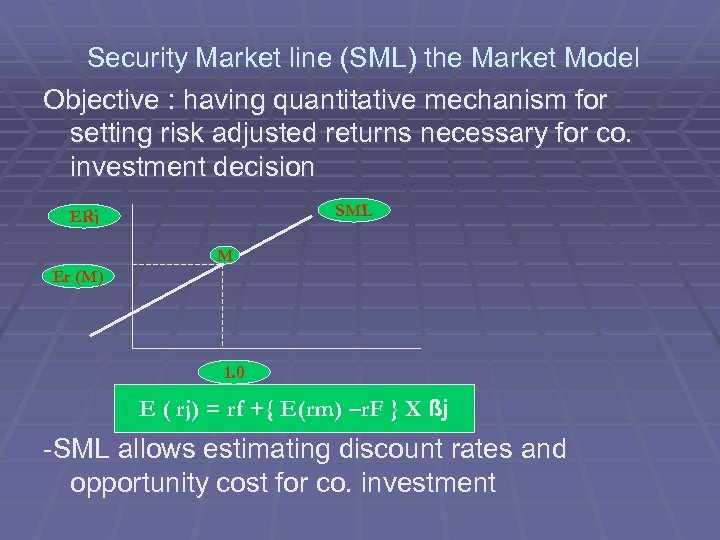 Security Market line (SML) the Market Model Objective : having quantitative mechanism for setting