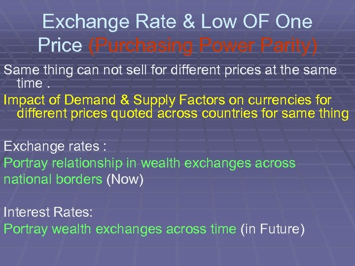Exchange Rate & Low OF One Price (Purchasing Power Parity) Same thing can not