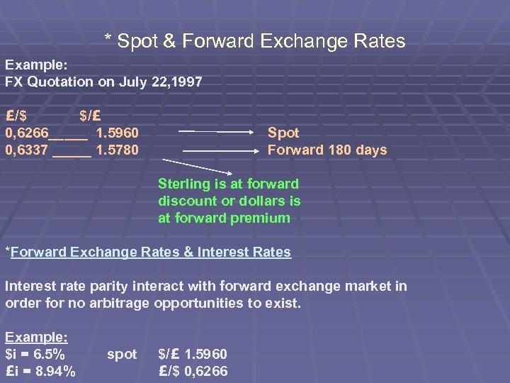 * Spot & Forward Exchange Rates Example: FX Quotation on July 22, 1997 £/$