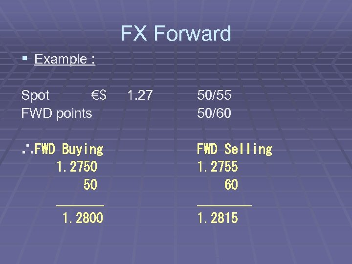 FX Forward § Example : Spot €$ FWD points ∴FWD Buying 1. 2750 50