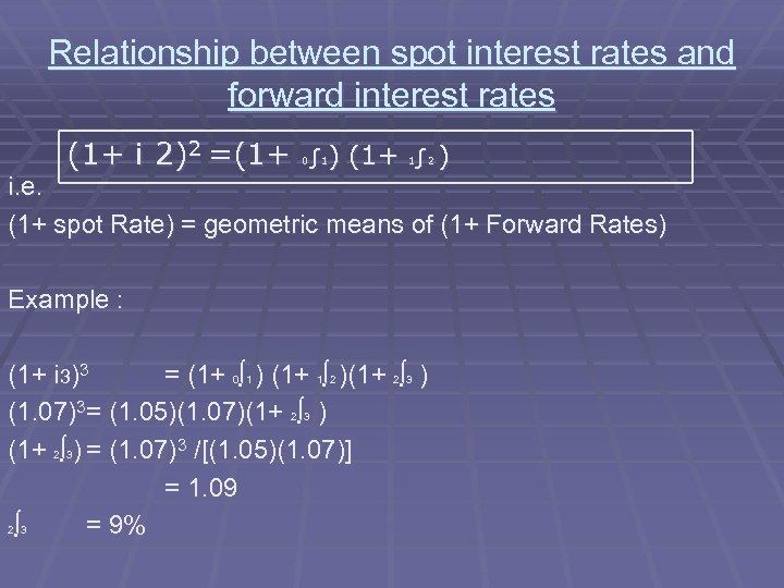 Relationship between spot interest rates and forward interest rates (1+ i 2)2 =(1+ ∫