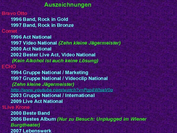 Auszeichnungen Bravo Otto 1996 Band, Rock in Gold 1997 Band, Rock in Bronze Comet