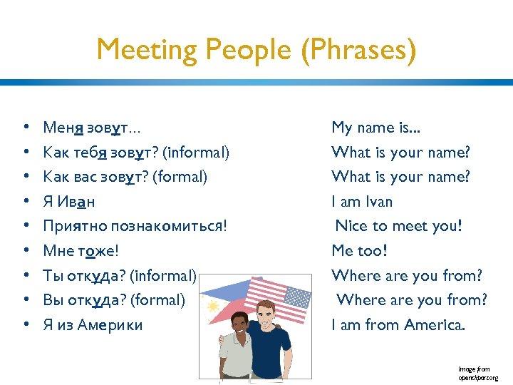 Meeting People (Phrases) • • • Меня зовут. . . Как тебя зовут? (informal)