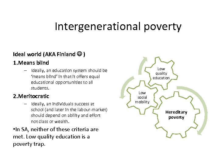 Intergenerational poverty Ideal world (AKA Finland ) 1. Means blind – Ideally, an education