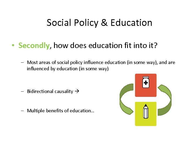 Social Policy & Education • Secondly, how does education fit into it? – Most