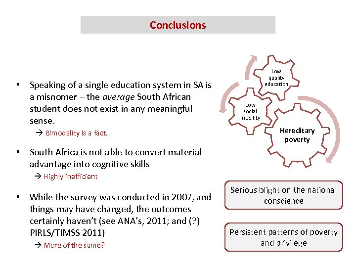 Conclusions • Speaking of a single education system in SA is a misnomer –