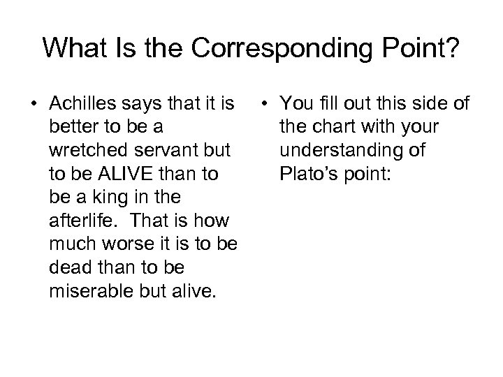 What Is the Corresponding Point? • Achilles says that it is • You fill