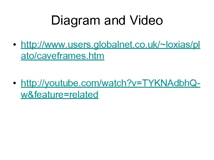 Diagram and Video • http: //www. users. globalnet. co. uk/~loxias/pl ato/caveframes. htm • http: