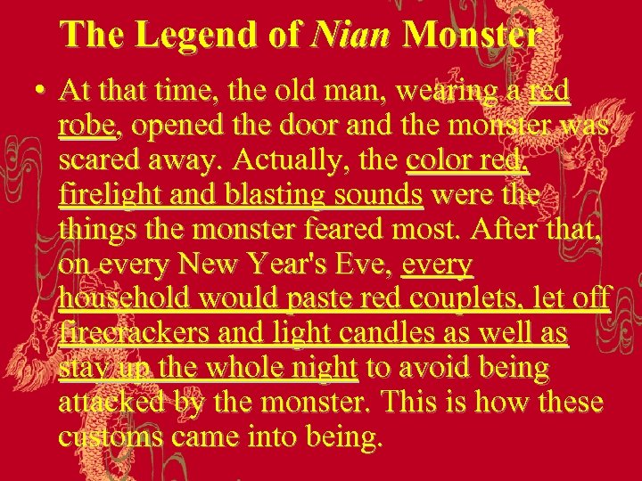 The Legend of Nian Monster • At that time, the old man, wearing a