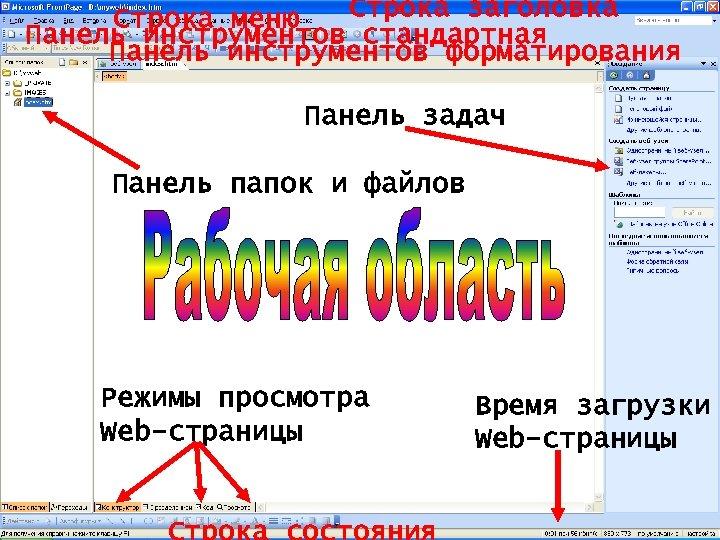 Строка заголовка Строка меню Панель инструментов стандартная Панель инструментов форматирования Панель задач Панель папок
