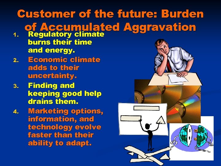 Customer of the future: Burden of Accumulated Aggravation 1. Regulatory climate 2. 3. 4.