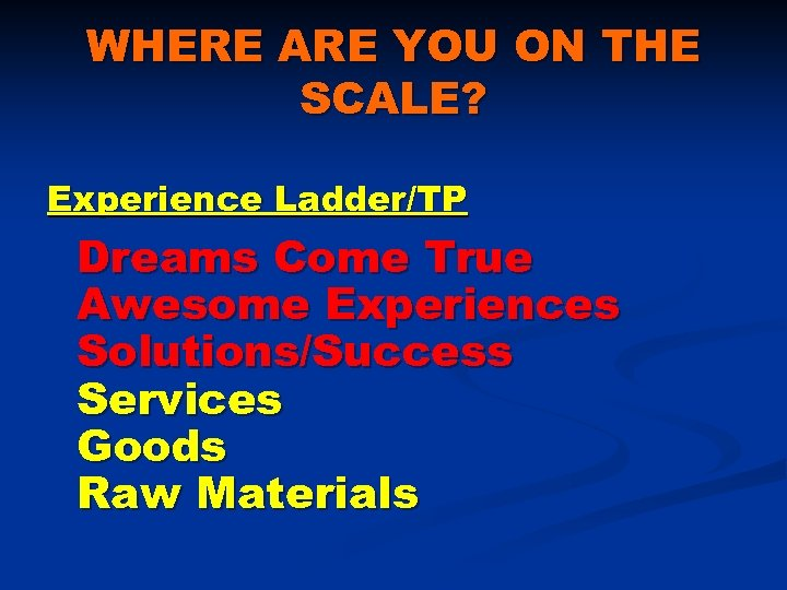 WHERE ARE YOU ON THE SCALE? Experience Ladder/TP Dreams Come True Awesome Experiences Solutions/Success