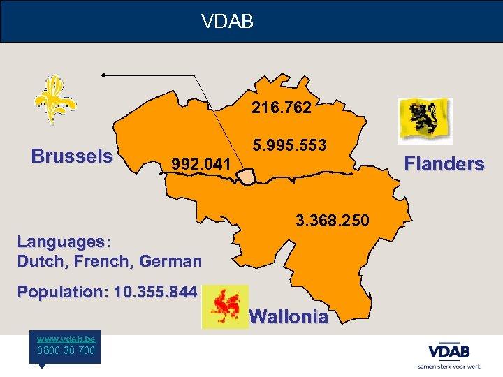 VDAB 216. 762 Brussels 5. 995. 553 992. 041 3. 368. 250 Languages: Dutch,