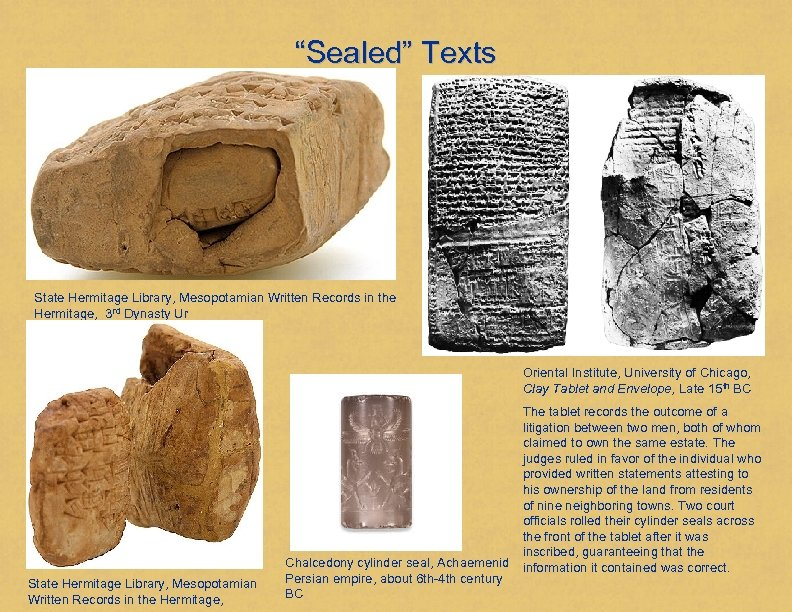 """""""Sealed"""" Texts State Hermitage Library, Mesopotamian Written Records in the Hermitage, 3 rd Dynasty"""
