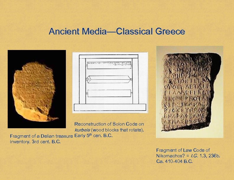 Ancient Media—Classical Greece Reconstruction of Solon Code on kurbeis (wood blocks that rotate). Fragment