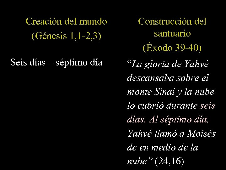 Creación del mundo (Génesis 1, 1 -2, 3) Seis días – séptimo día Construcción