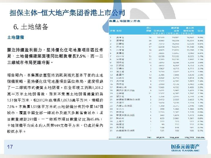 担保主体-恒大地产集团香港上市公司 6. 土地储备 17