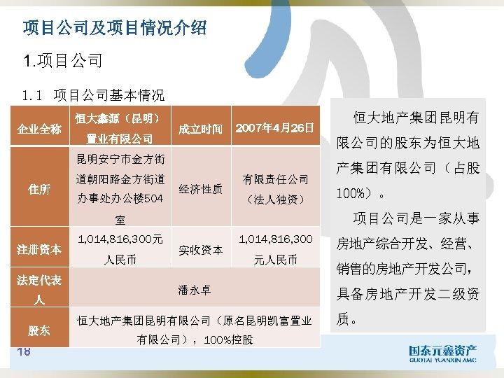 项目公司及项目情况介绍 1. 项目公司 1. 1 项目公司基本情况 企业全称 恒大鑫源(昆明) 置业有限公司 成立时间 2007年 4月26日 限公司的股东为恒大地 昆明安宁市金方街