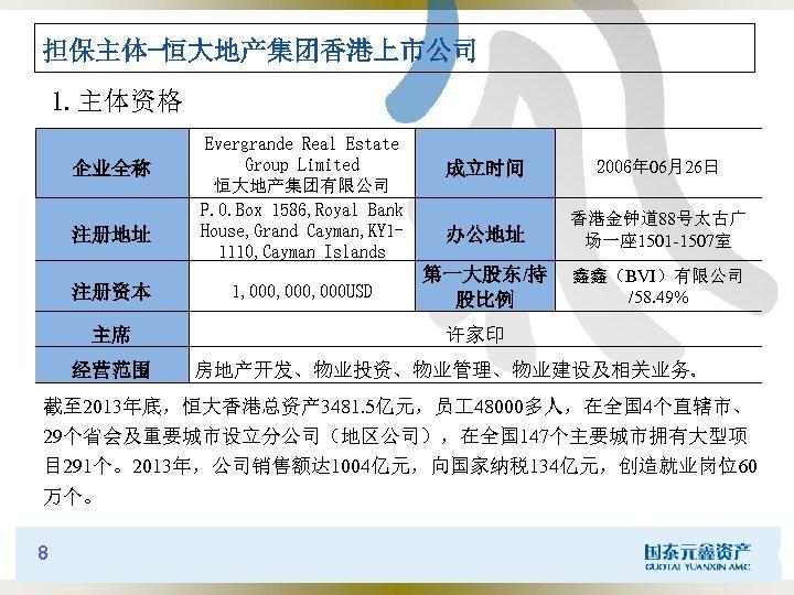 担保主体-恒大地产集团香港上市公司 1. 主体资格 企业全称 注册地址 注册资本 主席 经营范围 Evergrande Real Estate Group Limited 恒大地产集团有限公司