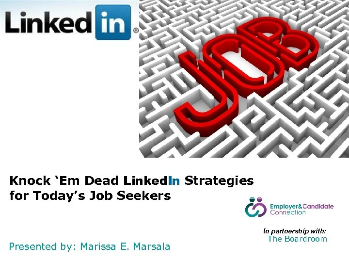Knock 'Em Dead Linked. In Strategies for Today's Job Seekers In partnership with: Presented