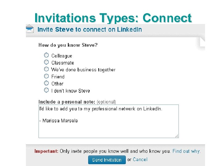Invitations Types: Connect