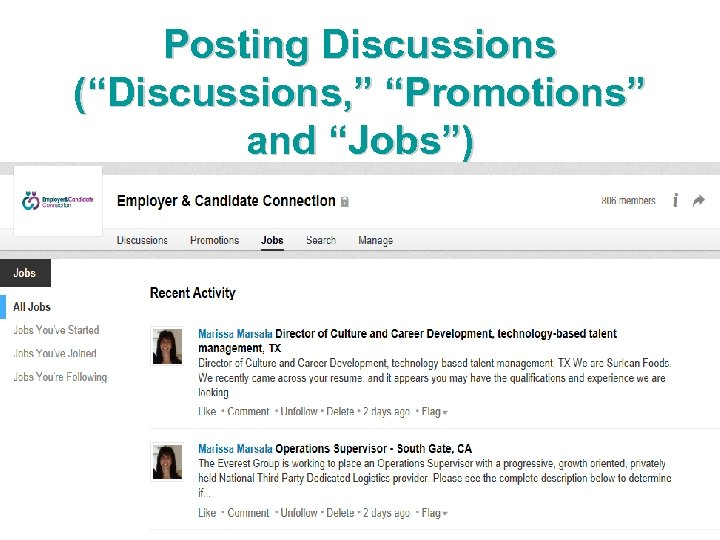 """Posting Discussions (""""Discussions, """" """"Promotions"""" and """"Jobs"""")"""
