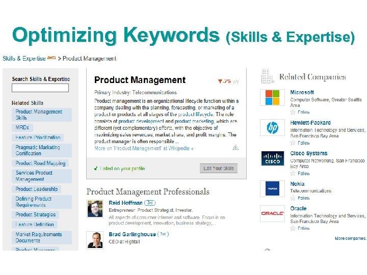 Optimizing Keywords (Skills & Expertise)