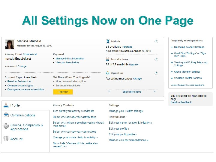 All Settings Now on One Page