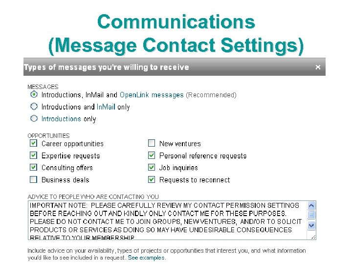 Communications (Message Contact Settings)