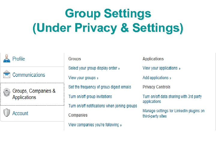 Group Settings (Under Privacy & Settings)