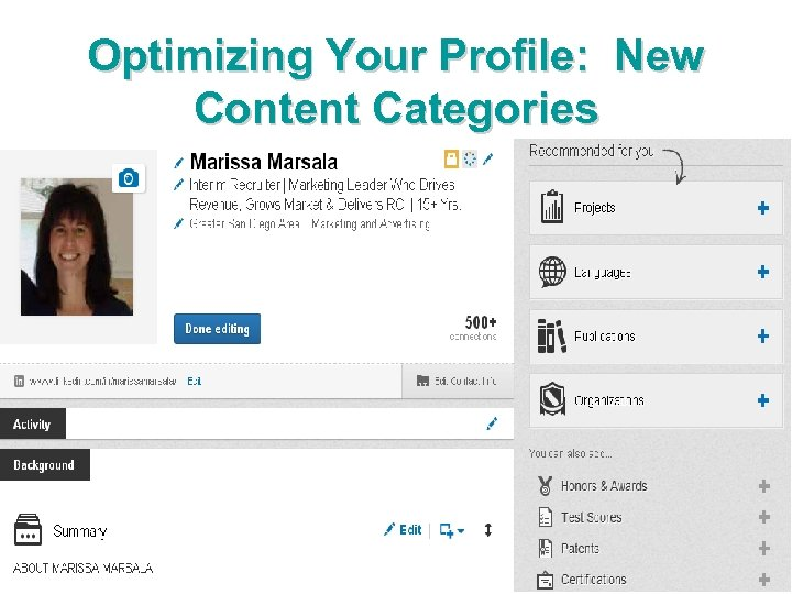 Optimizing Your Profile: New Content Categories