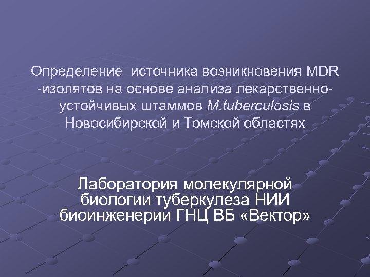 Определение источника возникновения MDR -изолятов на основе анализа лекарственноустойчивых штаммов M. tuberculosis в Новосибирской