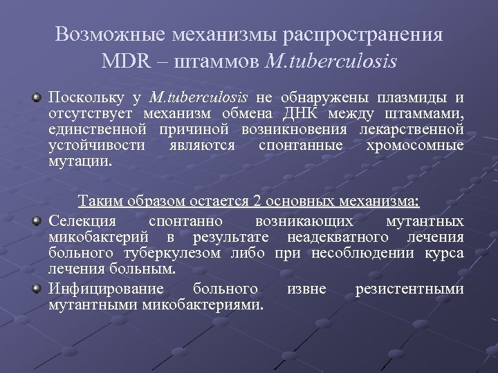 Возможные механизмы распространения MDR – штаммов M. tuberculosis Поскольку у M. tuberculosis не обнаружены