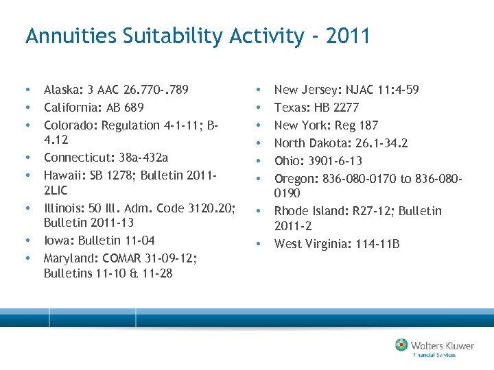 Annuities Suitability Activity - 2011 • • Alaska: 3 AAC 26. 770 -. 789