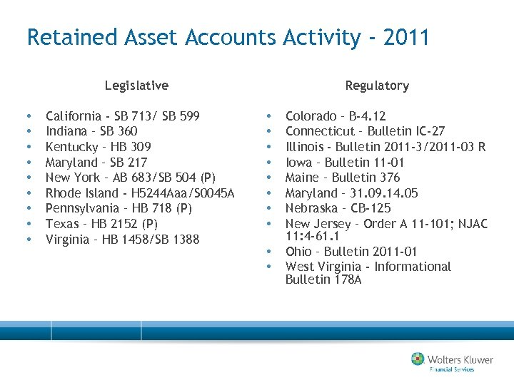 Retained Asset Accounts Activity - 2011 Legislative • • • California - SB 713/