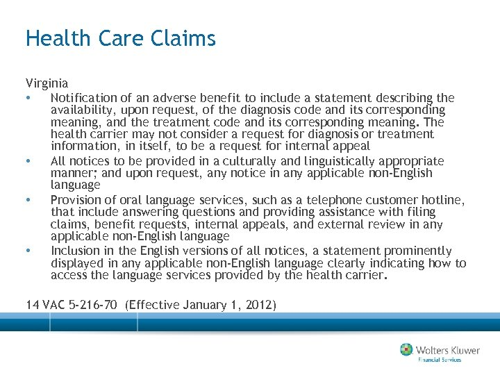 Health Care Claims Virginia • Notification of an adverse benefit to include a statement