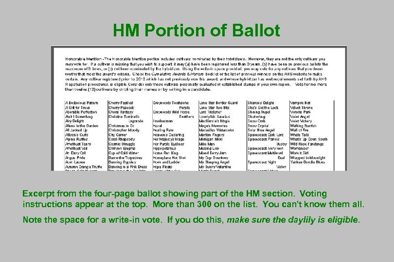 HM Portion of Ballot Excerpt from the four-page ballot showing part of the HM