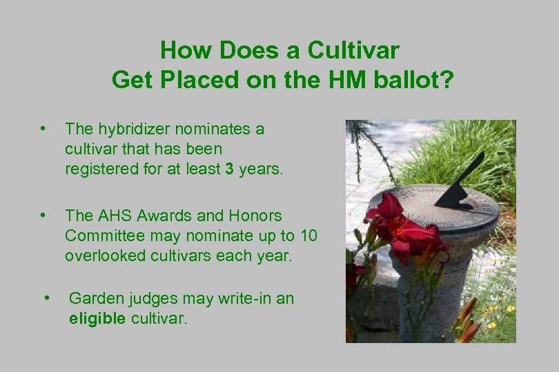 How Does a Cultivar Get Placed on the HM ballot? • The hybridizer nominates