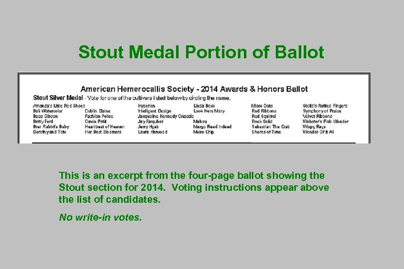 Stout Medal Portion of Ballot This is an excerpt from the four-page ballot showing