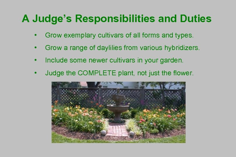 A Judge's Responsibilities and Duties • Grow exemplary cultivars of all forms and types.
