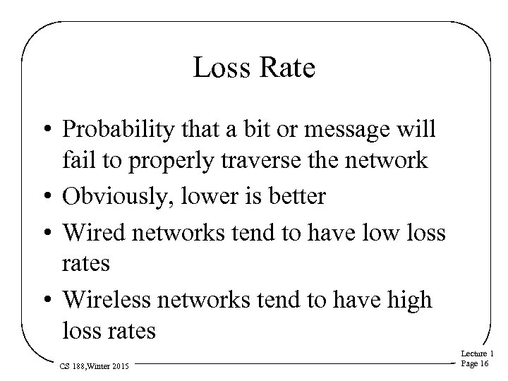 Loss Rate • Probability that a bit or message will fail to properly traverse