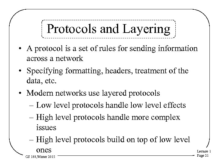 Protocols and Layering • A protocol is a set of rules for sending information