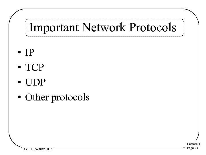 Important Network Protocols • • IP TCP UDP Other protocols CS 188, Winter 2015
