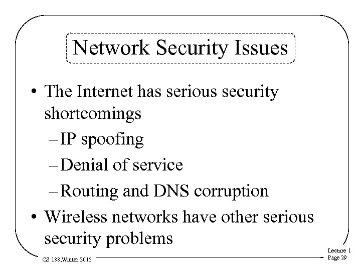 Network Security Issues • The Internet has serious security shortcomings – IP spoofing –