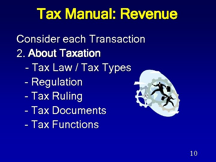 Tax Manual: Revenue Consider each Transaction 2. About Taxation - Tax Law / Tax
