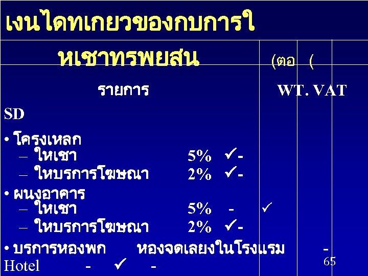 เงนไดทเกยวของกบการใ หเชาทรพยสน รายการ (ตอ ( WT. VAT SD • โครงเหลก – ใหเชา 5% –
