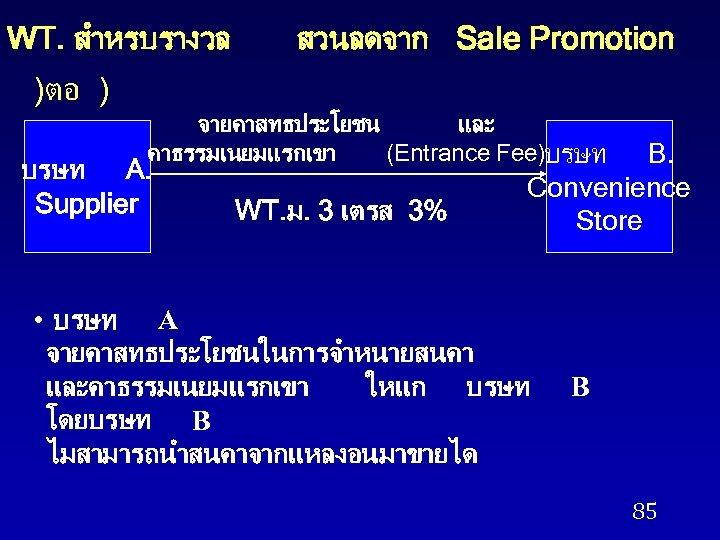 WT. สำหรบรางวล สวนลดจาก Sale Promotion )ตอ ) จายคาสทธประโยชน และ คาธรรมเนยมแรกเขา (Entrance Fee)บรษท A. Supplier